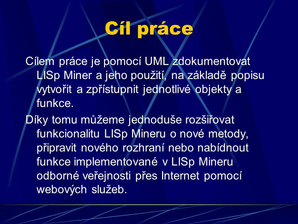 Cíl práce Cílem práce je pomocí UML zdokumentovat LISp Miner a jeho použití, na základě popisu vytvořit a zpřístupnit jednotlivé objekty a funkce.