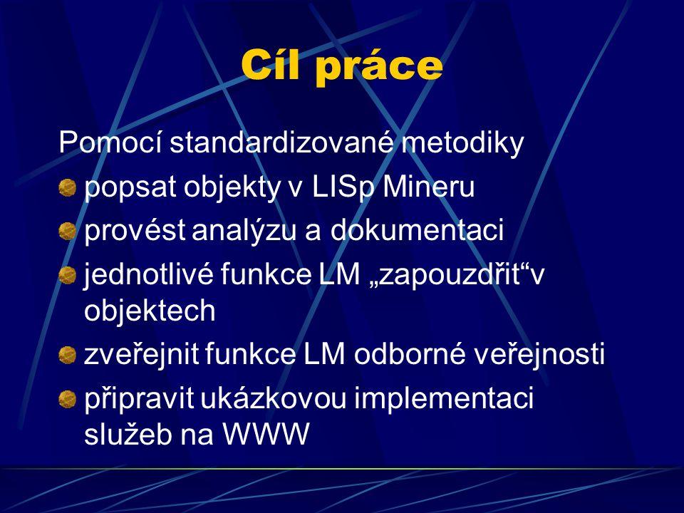 Cíl práce Pomocí standardizované metodiky popsat objekty v LISp Mineru