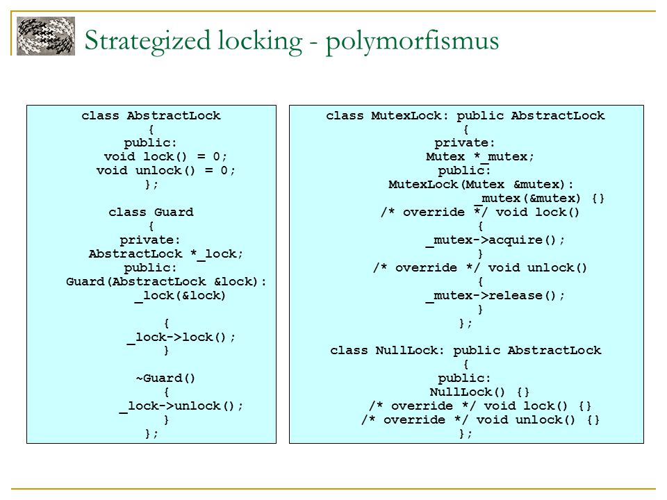 Strategized locking - polymorfismus