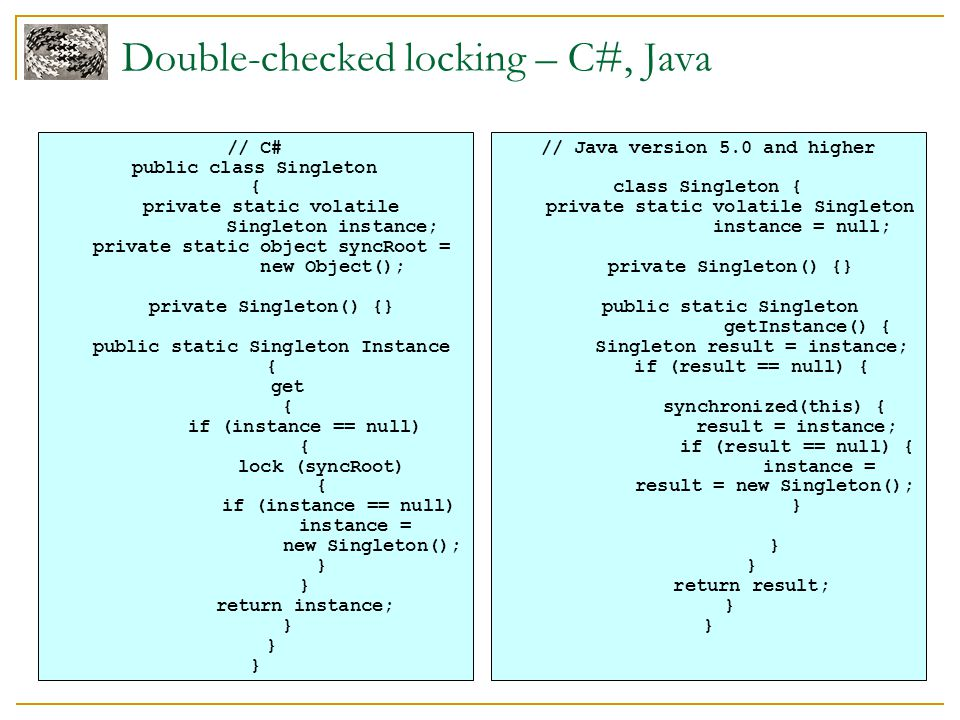 Double-checked locking – C#, Java