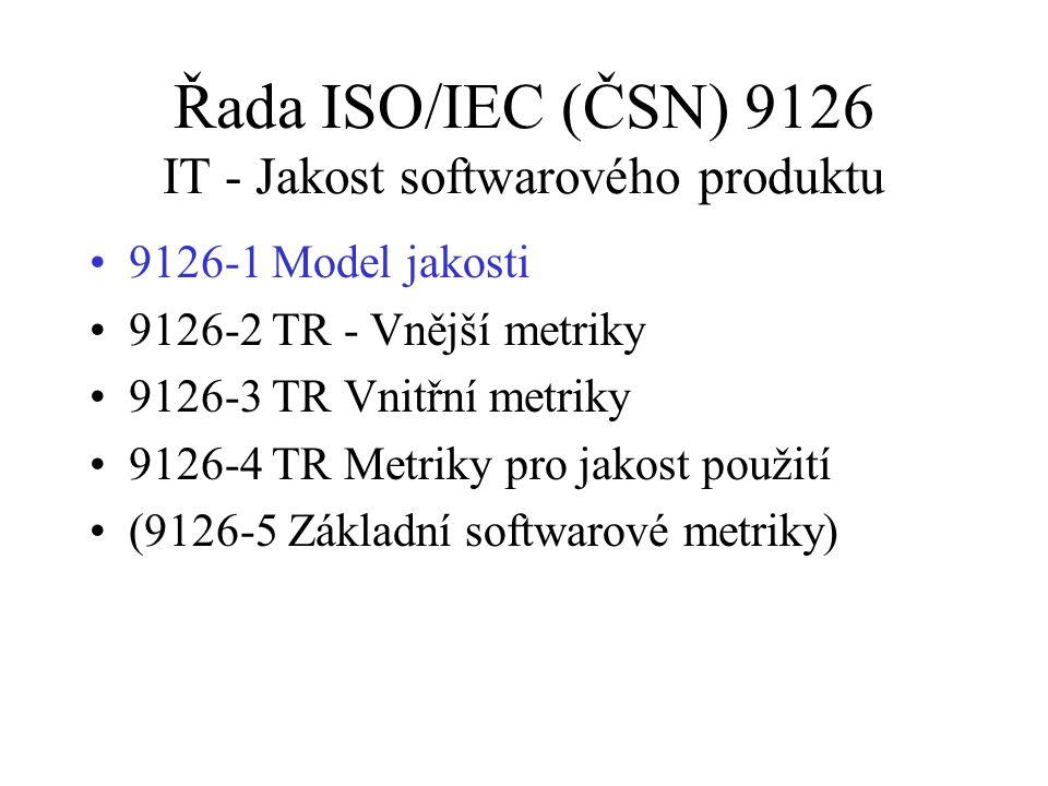 Řada ISO/IEC (ČSN) 9126 IT - Jakost softwarového produktu