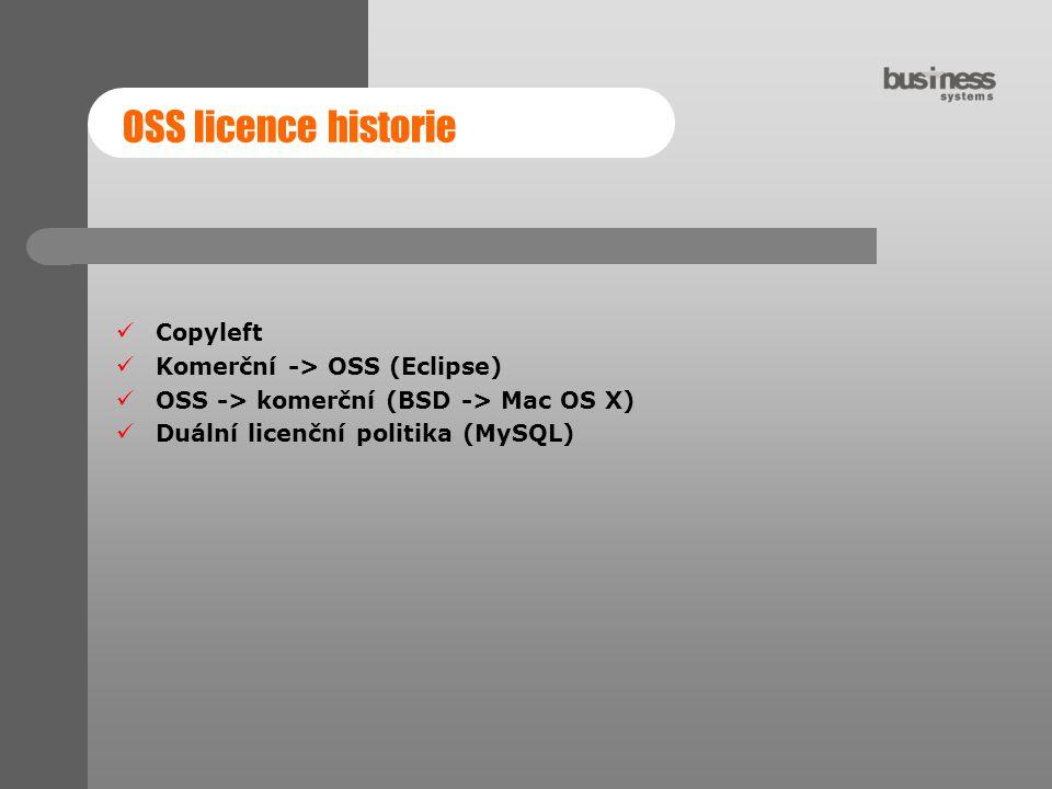 OSS licence historie Copyleft Komerční -> OSS (Eclipse)
