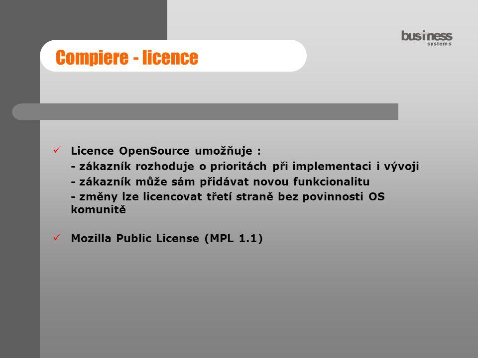 Compiere - licence Licence OpenSource umožňuje :