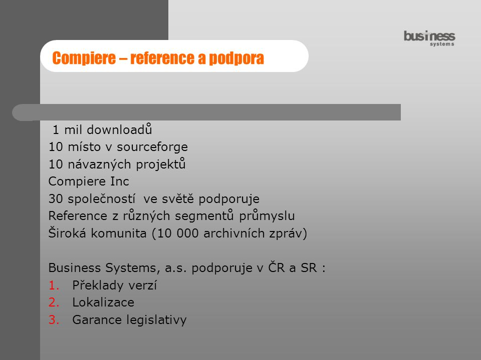 Compiere – reference a podpora