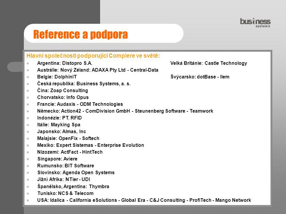 Reference a podpora Hlavní společnosti podporující Compiere ve světě: