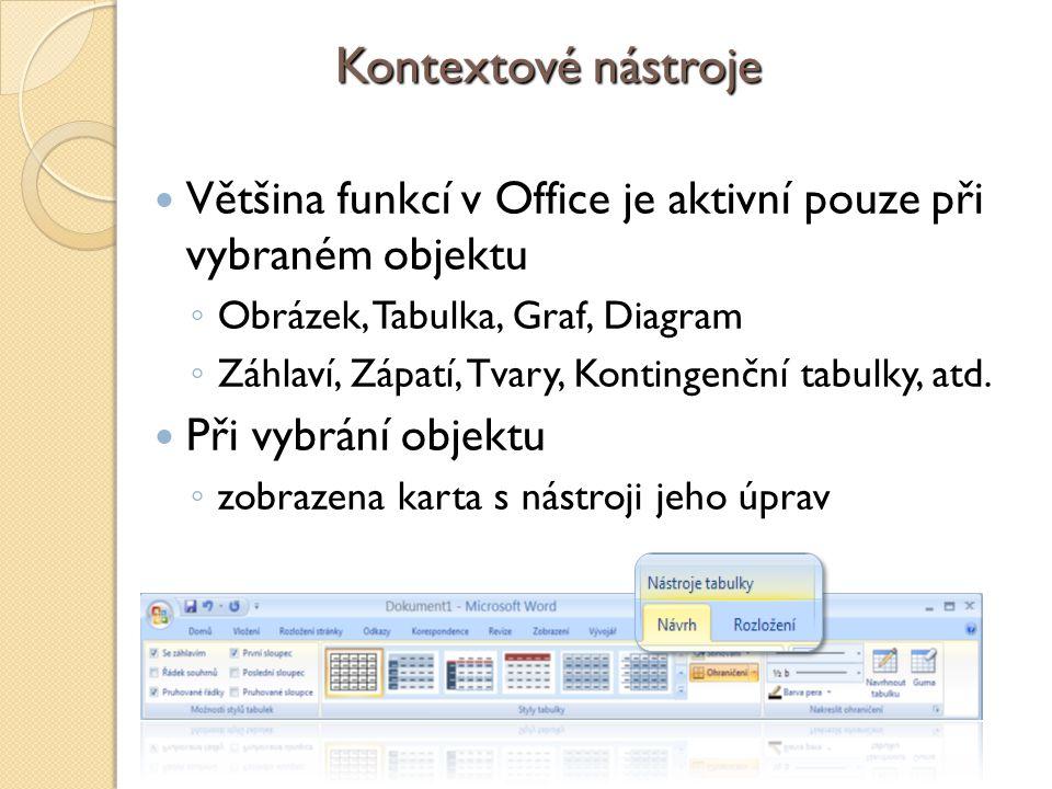 4/10/2017 9:20 AM Kontextové nástroje. Většina funkcí v Office je aktivní pouze při vybraném objektu.