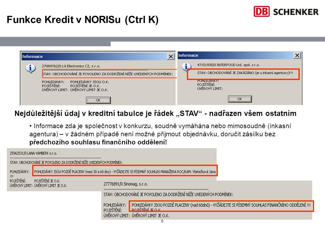 Funkce Kredit v NORISu (Ctrl K)