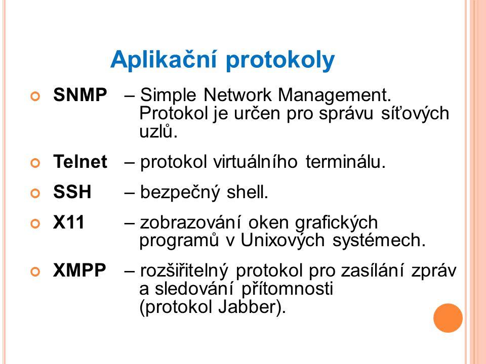 Aplikační protokoly SNMP – Simple Network Management. Protokol je určen pro správu síťových uzlů.