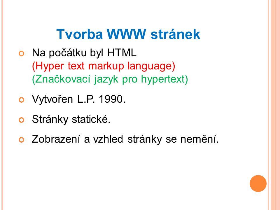 Tvorba WWW stránek Na počátku byl HTML (Hyper text markup language) (Značkovací jazyk pro hypertext)