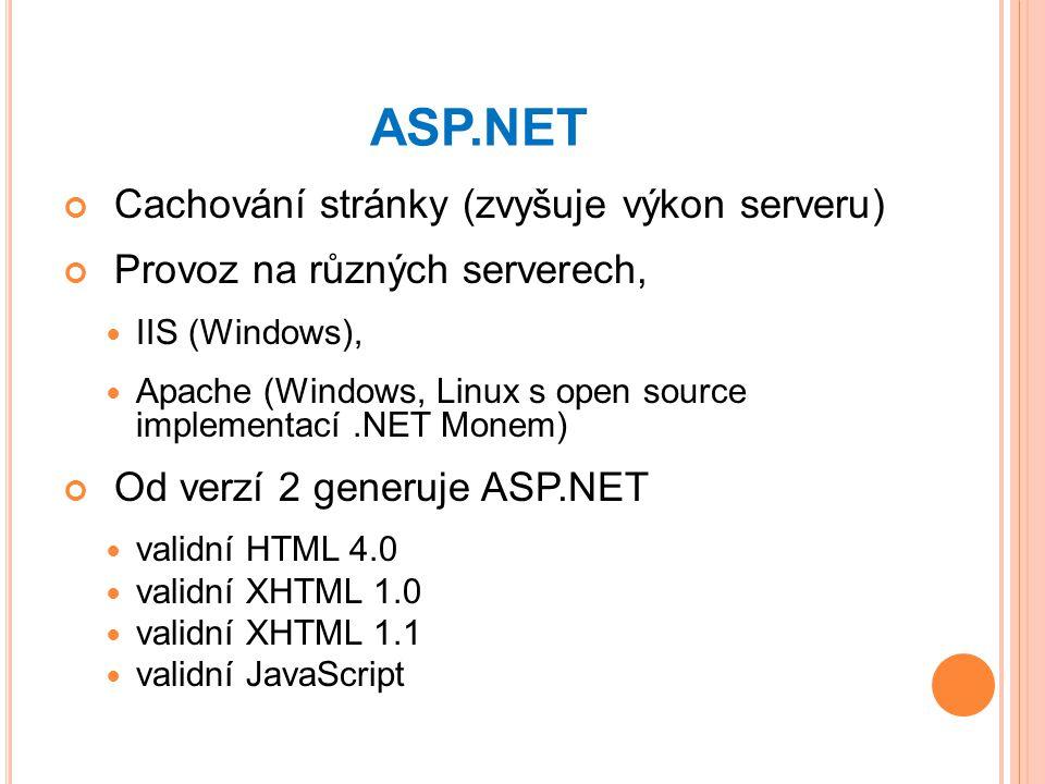 ASP.NET Cachování stránky (zvyšuje výkon serveru)