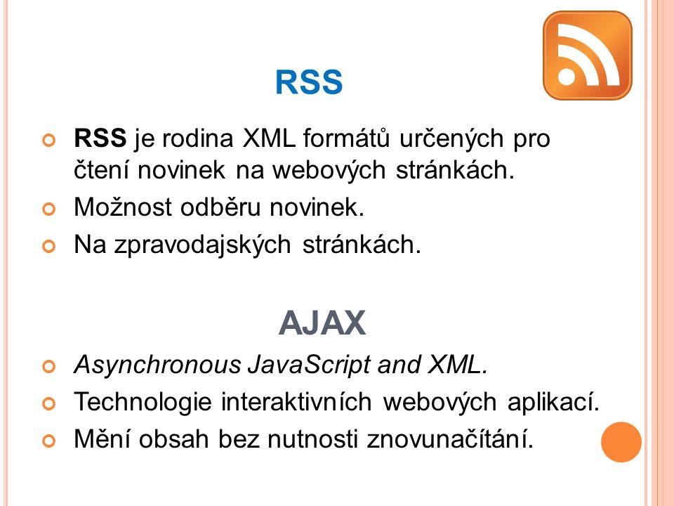 RSS RSS je rodina XML formátů určených pro čtení novinek na webových stránkách. Možnost odběru novinek.