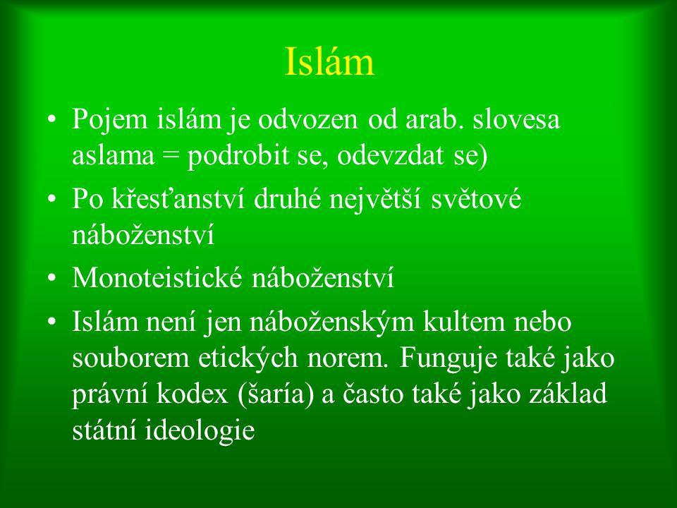Islám Pojem islám je odvozen od arab. slovesa aslama = podrobit se, odevzdat se) Po křesťanství druhé největší světové náboženství.