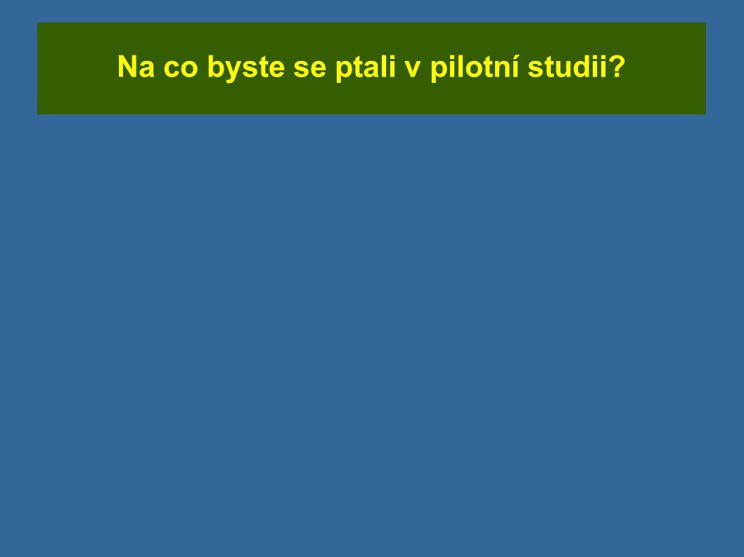 Na co byste se ptali v pilotní studii