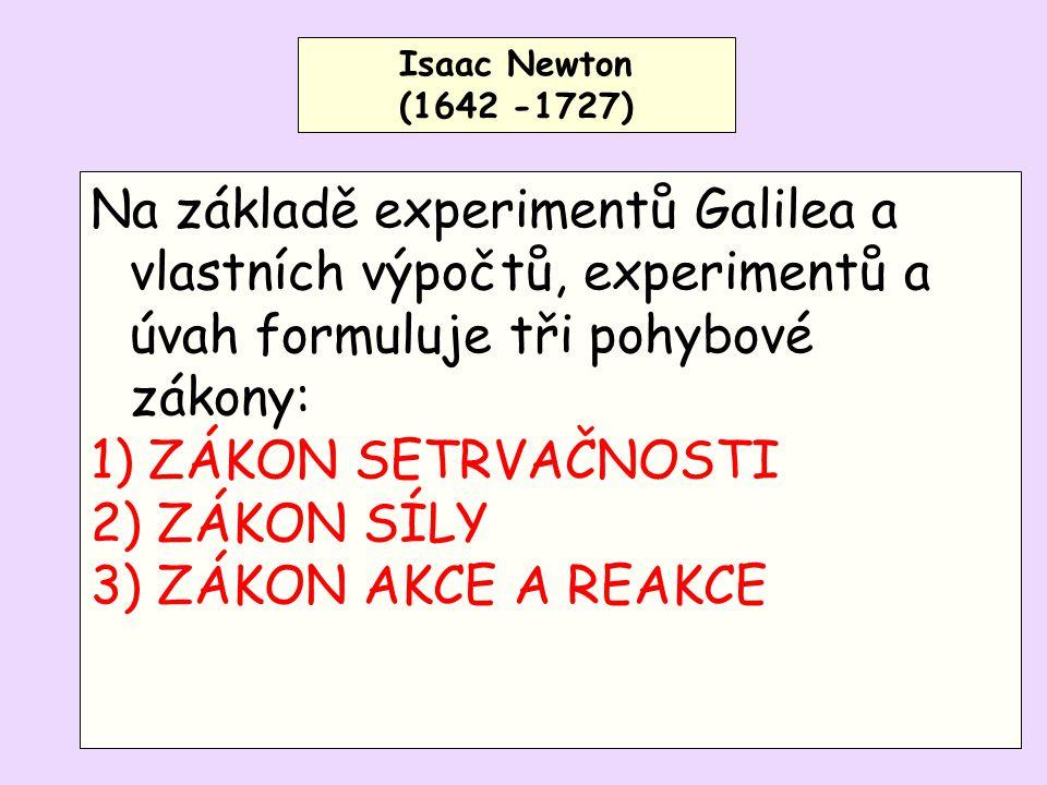 Isaac Newton (1642 -1727) Na základě experimentů Galilea a vlastních výpočtů, experimentů a úvah formuluje tři pohybové zákony: