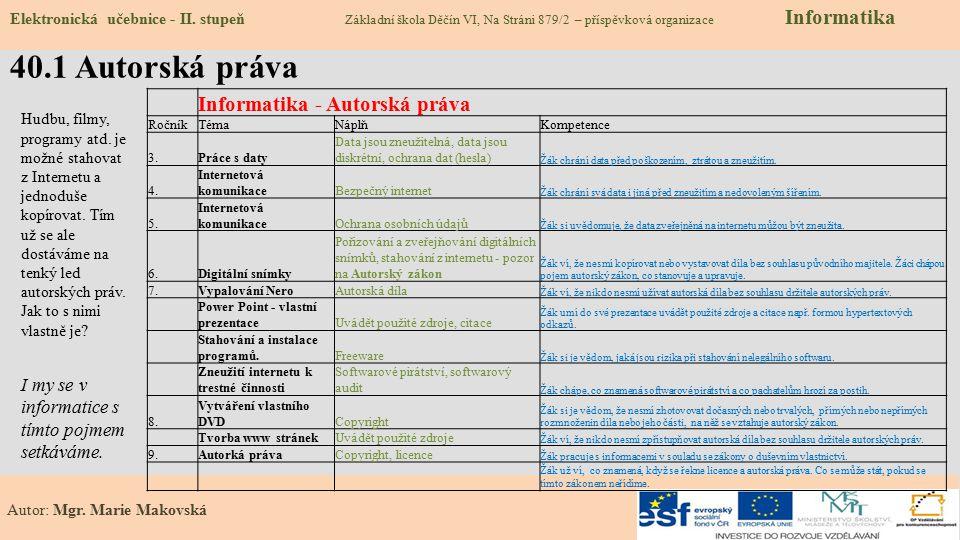 40.1 Autorská práva Informatika - Autorská práva