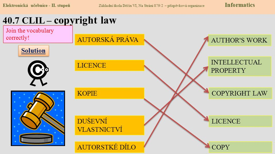40.7 CLIL – copyright law AUTORSKÁ PRÁVA AUTHOR S WORK Solution