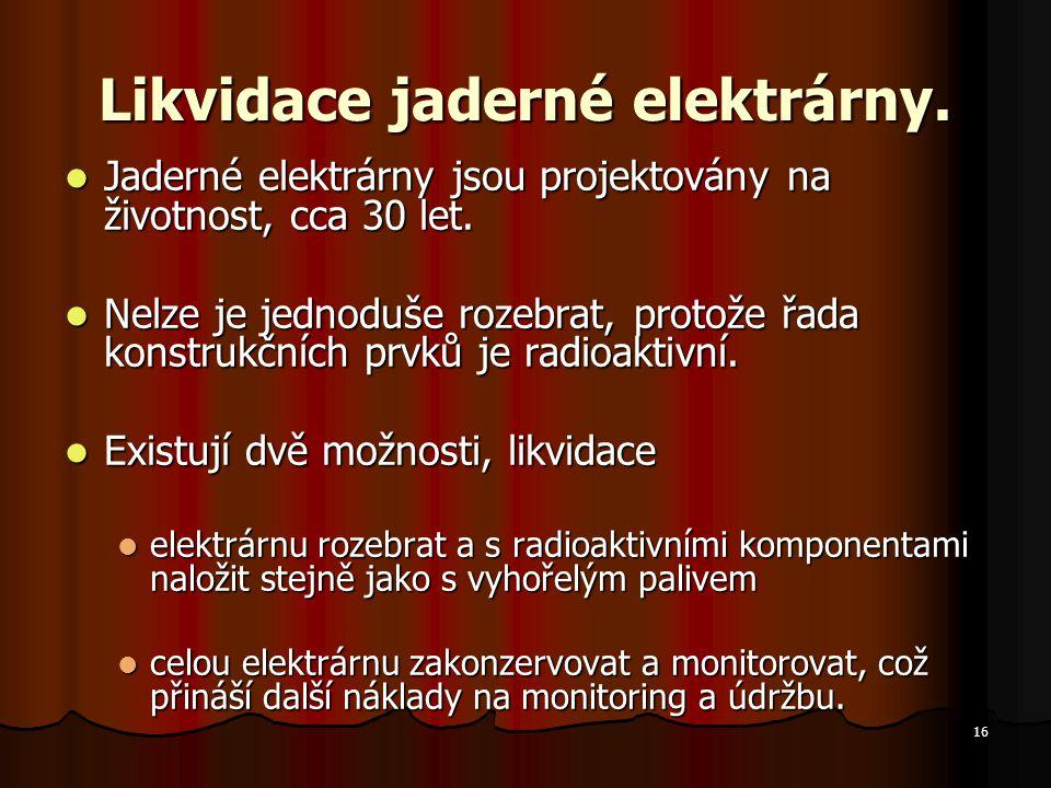 Likvidace jaderné elektrárny.