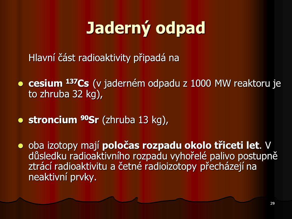 Jaderný odpad Hlavní část radioaktivity připadá na