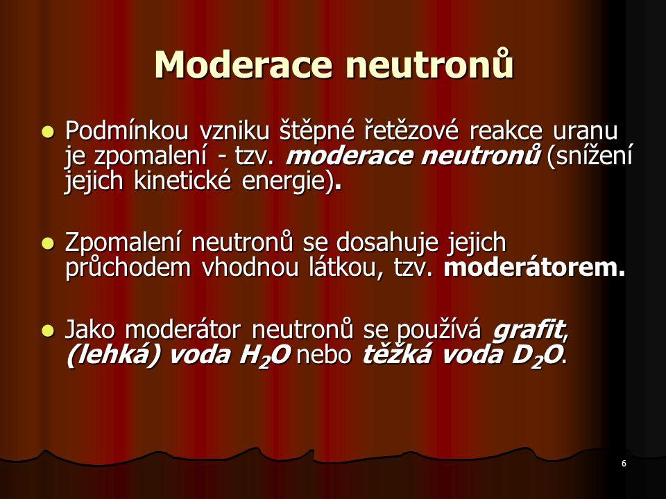 Moderace neutronů Podmínkou vzniku štěpné řetězové reakce uranu je zpomalení - tzv. moderace neutronů (snížení jejich kinetické energie).