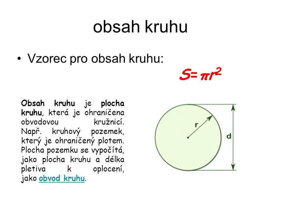 obsah kruhu S=πr2 Vzorec pro obsah kruhu: