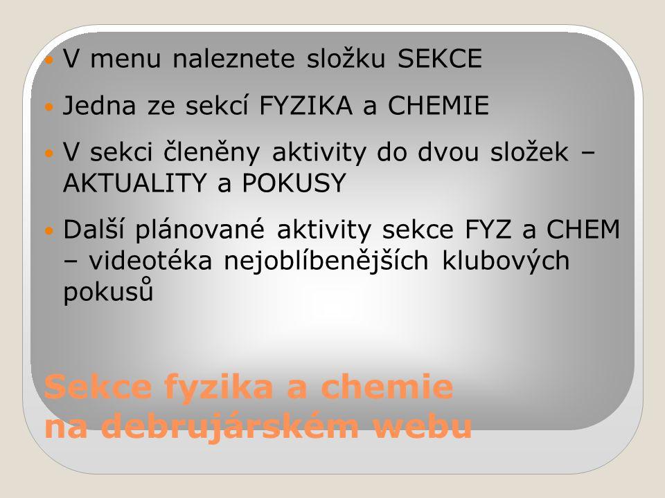 Sekce fyzika a chemie na debrujárském webu