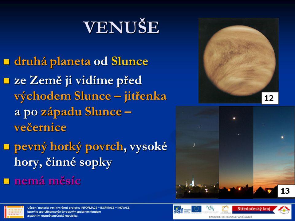 VENUŠE druhá planeta od Slunce