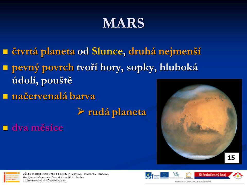 MARS čtvrtá planeta od Slunce, druhá nejmenší