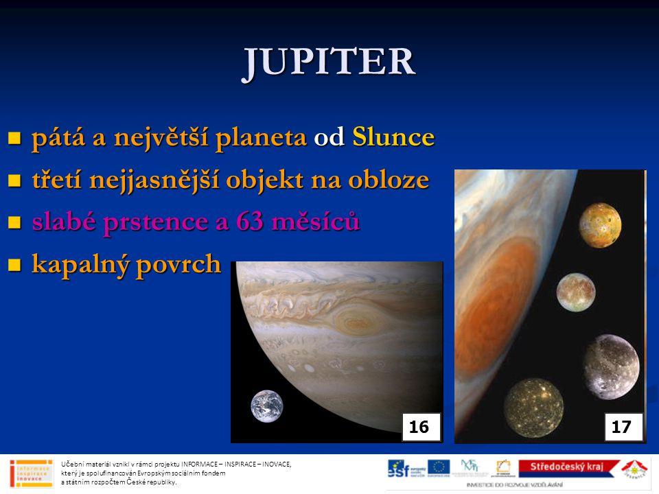 JUPITER pátá a největší planeta od Slunce
