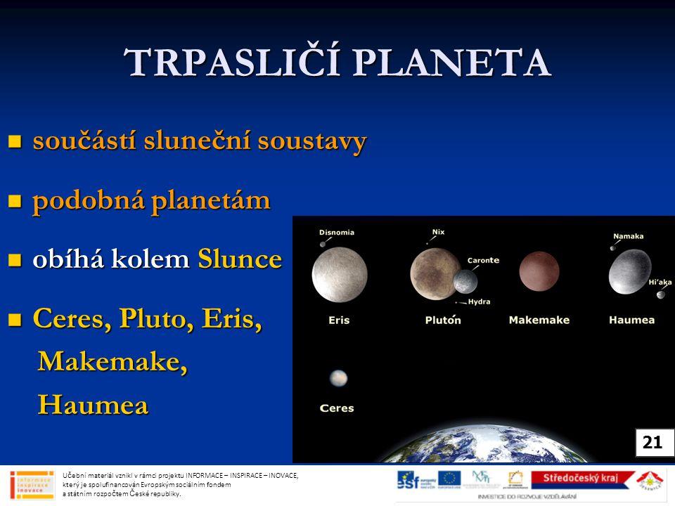 TRPASLIČÍ PLANETA součástí sluneční soustavy podobná planetám