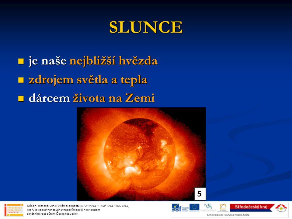 SLUNCE je naše nejbližší hvězda zdrojem světla a tepla