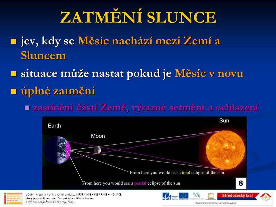 ZATMĚNÍ SLUNCE jev, kdy se Měsíc nachází mezi Zemí a Sluncem