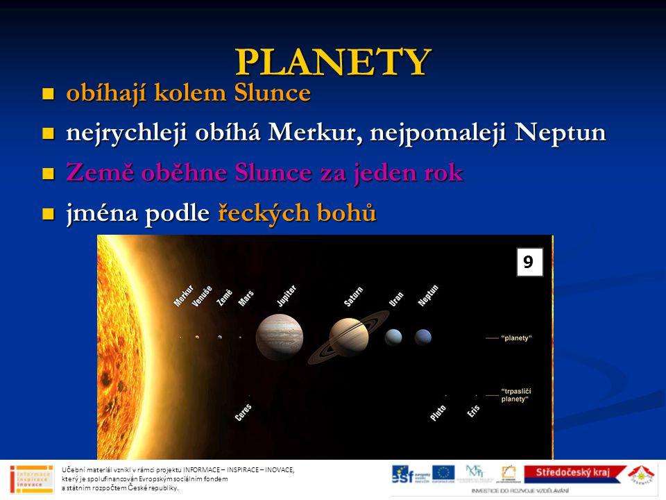 PLANETY obíhají kolem Slunce