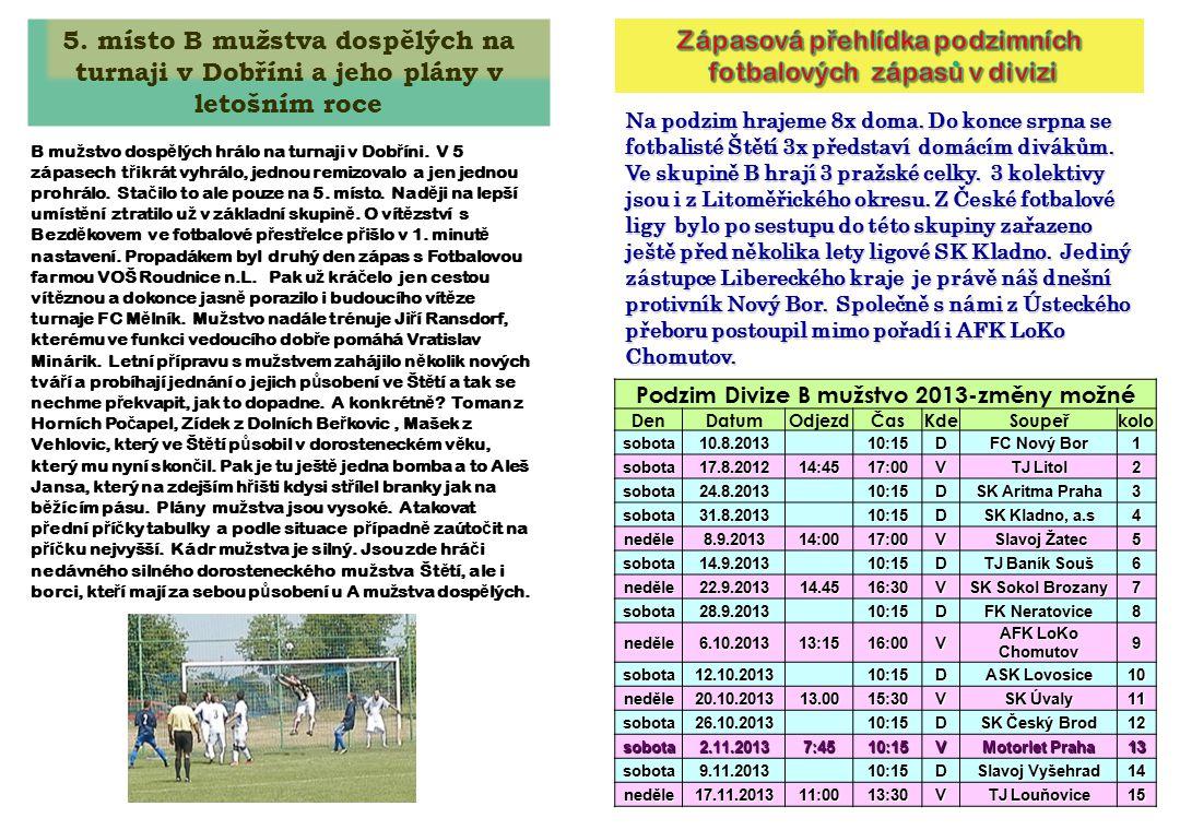Zápasová přehlídka podzimních fotbalových zápasů v divizi