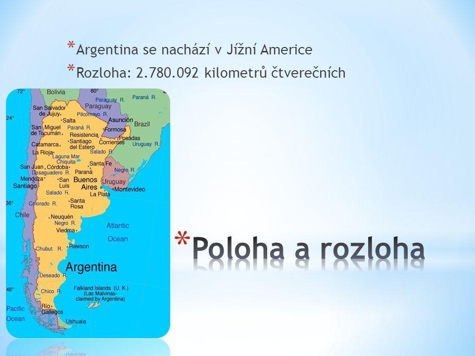 Poloha a rozloha Argentina se nachází v Jížní Americe