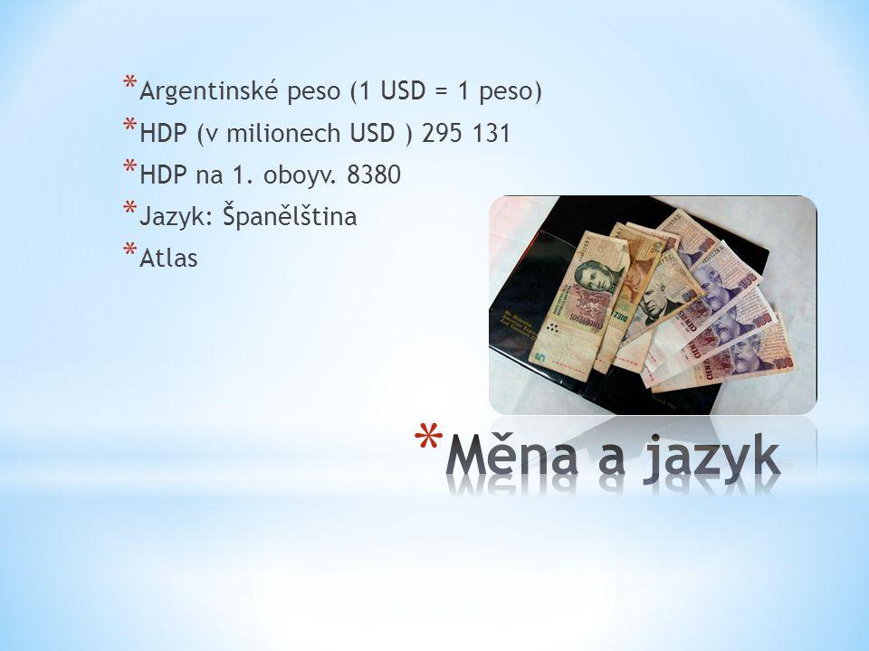 Měna a jazyk Argentinské peso (1 USD = 1 peso)