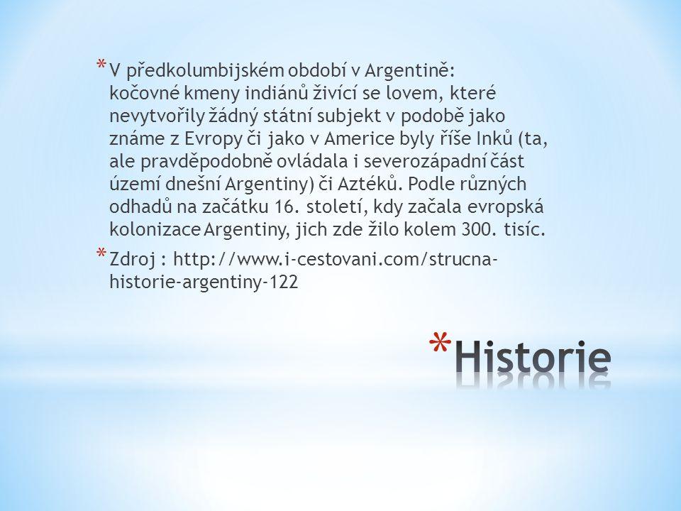 V předkolumbijském období v Argentině: kočovné kmeny indiánů živící se lovem, které nevytvořily žádný státní subjekt v podobě jako známe z Evropy či jako v Americe byly říše Inků (ta, ale pravděpodobně ovládala i severozápadní část území dnešní Argentiny) či Aztéků. Podle různých odhadů na začátku 16. století, kdy začala evropská kolonizace Argentiny, jich zde žilo kolem 300. tisíc.