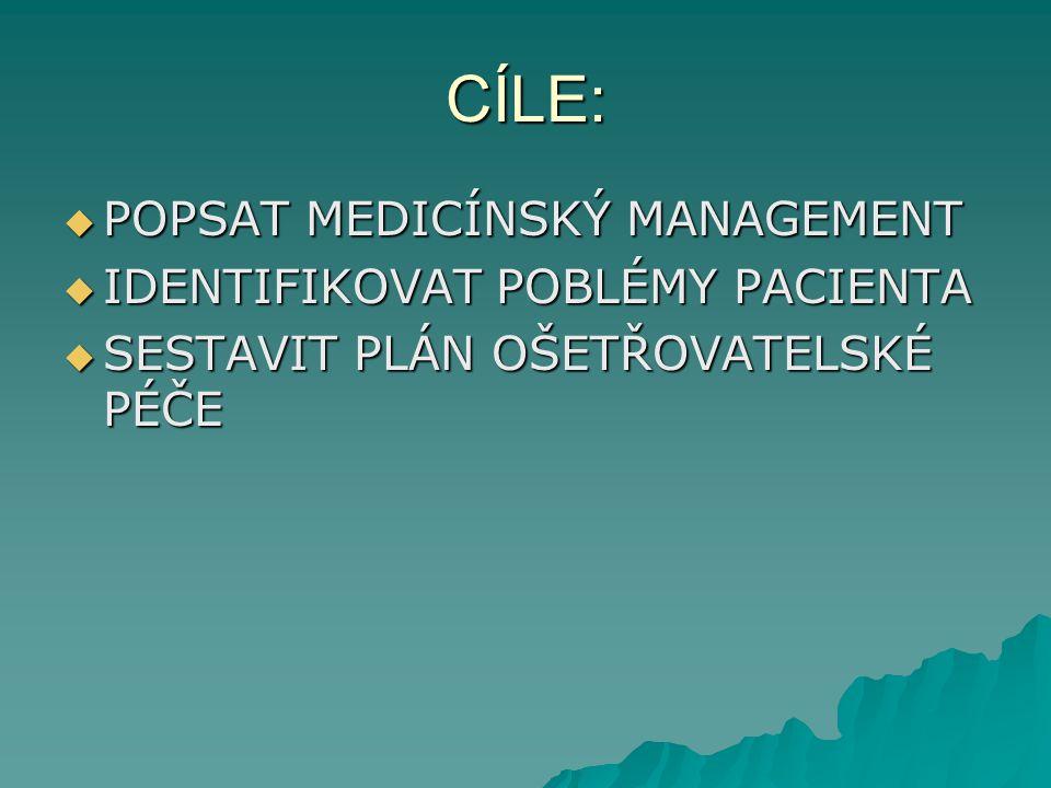 CÍLE: POPSAT MEDICÍNSKÝ MANAGEMENT IDENTIFIKOVAT POBLÉMY PACIENTA