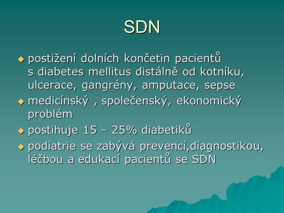 SDN postižení dolních končetin pacientů s diabetes mellitus distálně od kotníku, ulcerace, gangrény, amputace, sepse.