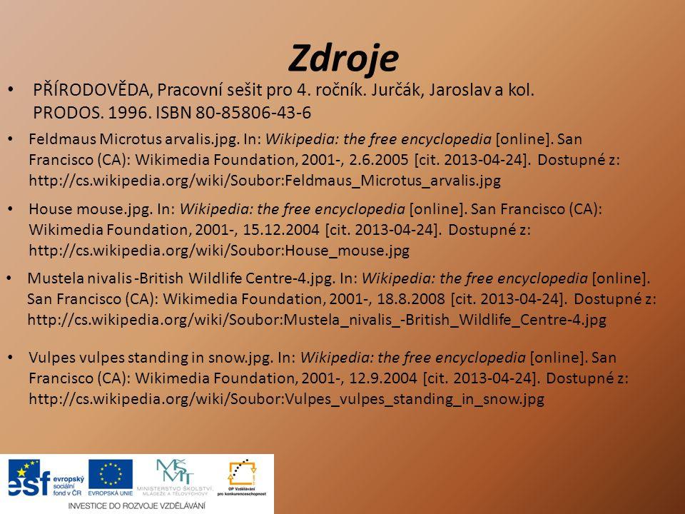 Zdroje PŘÍRODOVĚDA, Pracovní sešit pro 4. ročník. Jurčák, Jaroslav a kol. PRODOS. 1996. ISBN 80-85806-43-6.