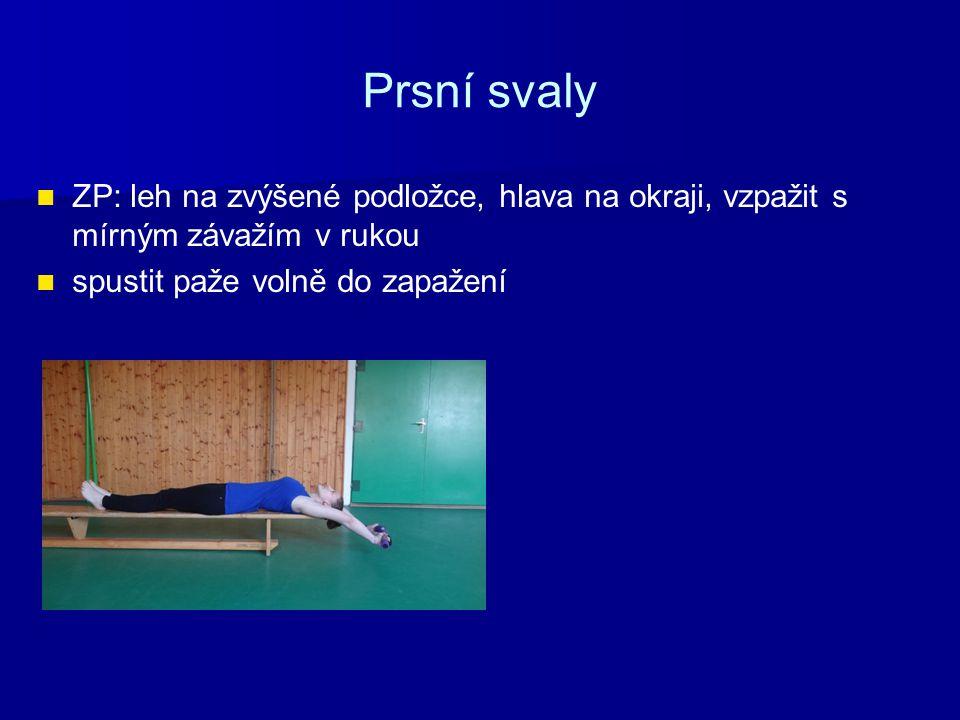 Prsní svaly ZP: leh na zvýšené podložce, hlava na okraji, vzpažit s mírným závažím v rukou.