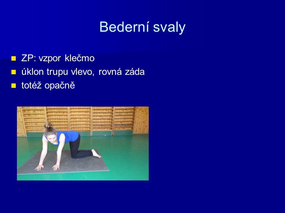 Bederní svaly ZP: vzpor klečmo úklon trupu vlevo, rovná záda