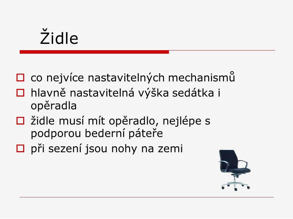 Židle co nejvíce nastavitelných mechanismů