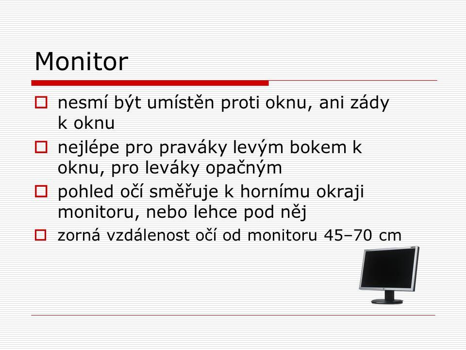 Monitor nesmí být umístěn proti oknu, ani zády k oknu