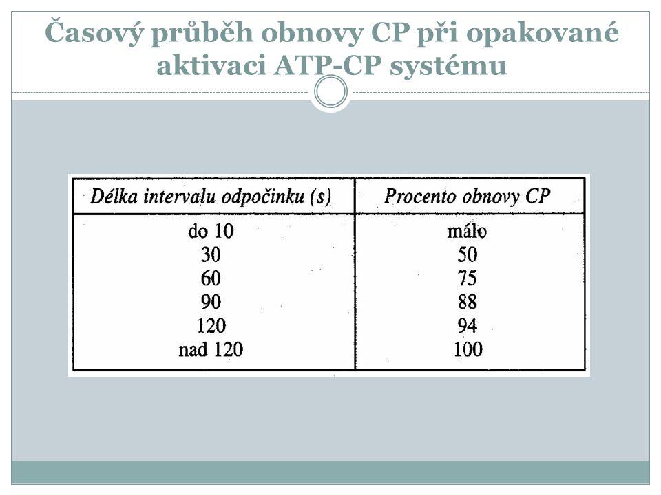 Časový průběh obnovy CP při opakované aktivaci ATP-CP systému