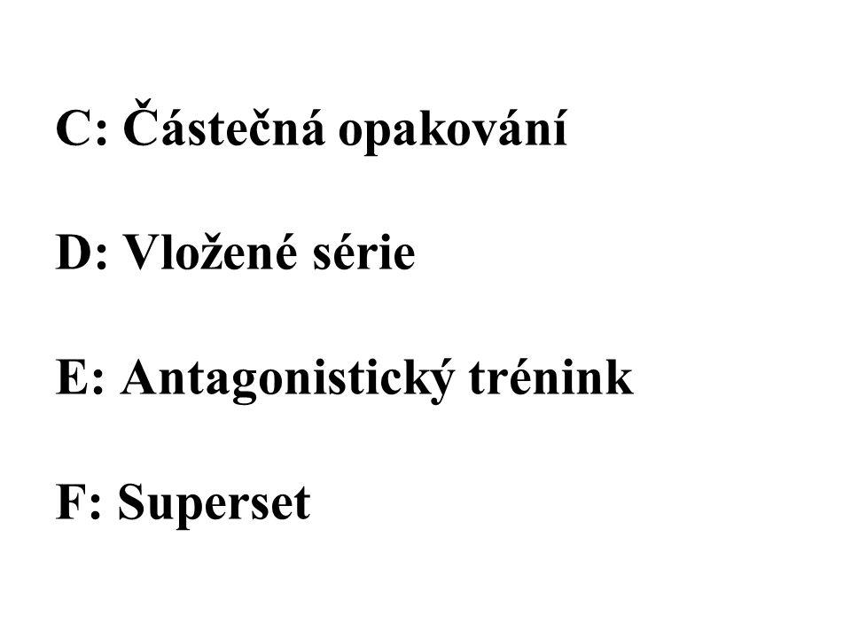 C: Částečná opakování D: Vložené série E: Antagonistický trénink F: Superset