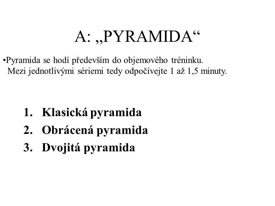"""A: """"PYRAMIDA Klasická pyramida Obrácená pyramida Dvojitá pyramida"""