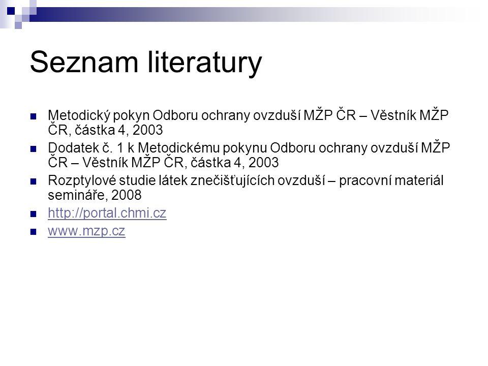 Seznam literatury Metodický pokyn Odboru ochrany ovzduší MŽP ČR – Věstník MŽP ČR, částka 4, 2003.