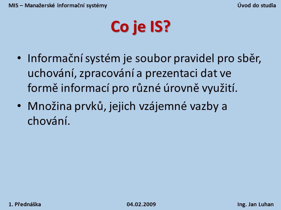 MIS – Manažerské informační systémy Úvod do studia