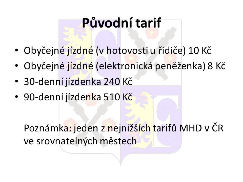 Původní tarif Obyčejné jízdné (v hotovosti u řidiče) 10 Kč