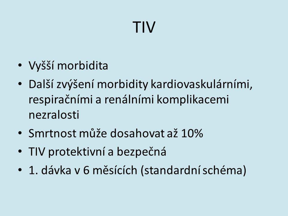 TIV Vyšší morbidita. Další zvýšení morbidity kardiovaskulárními, respiračními a renálními komplikacemi nezralosti.